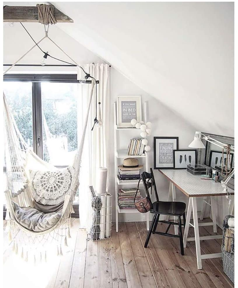 silla colgante en viga de madera como colgar silla colgante techo instalar hamaca