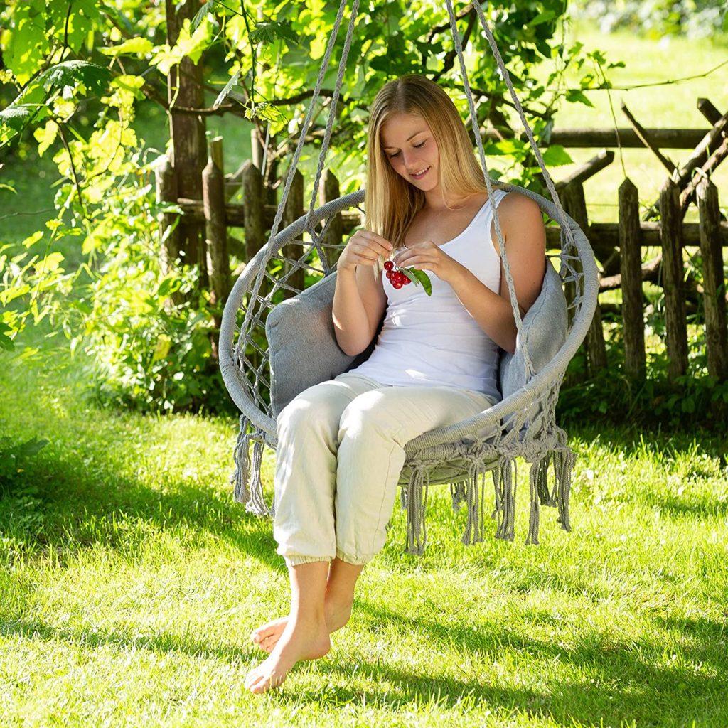 silla colgante tectake de algodón en jardin terraza sillas colgantes baratas tectake silla colgante