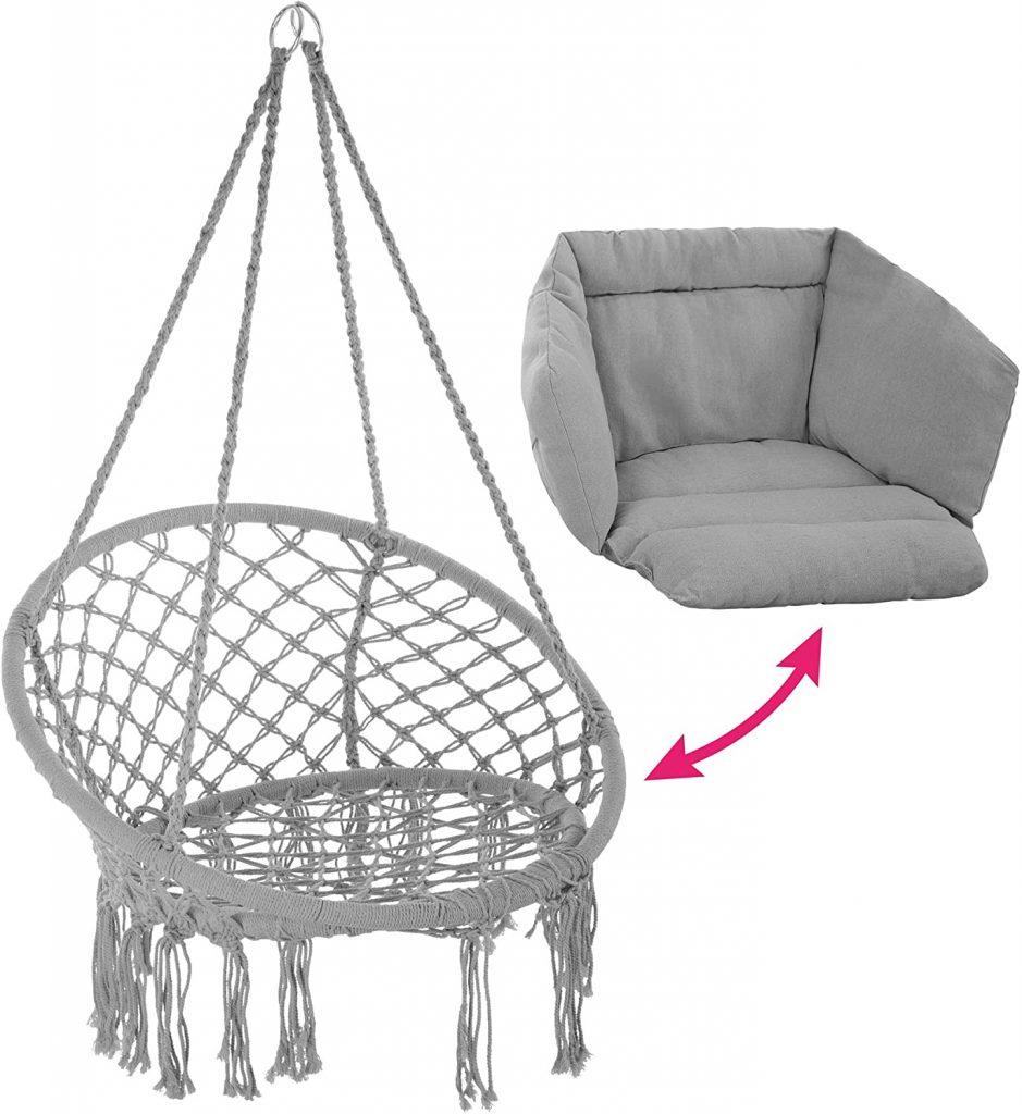 silla colgante tectake de algodón más un cojín incluido