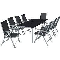 TecTake Aluminio Conjunto Muebles para Jardin 8 Silla Adjustable Mesa Cristal terraza