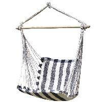 silla colgante de rayas blancas y negras