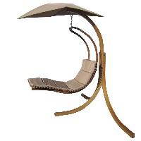 silla colgante hamaca de madera con sombrilla